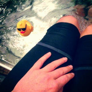 Making friends with Sergio, the rubber ducky who chills in the ice baths in the trainer's room.